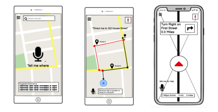 First prototypes of the application, including a splash page, route displays, and live navigation of a trip