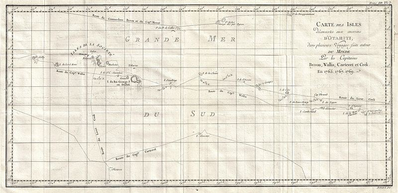 1769 Cook Map of Tahiti, the Society Islands, and its Vicinity