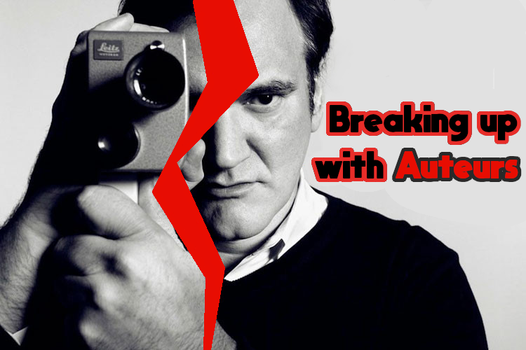 Breaking up with Auteurs: Quentin Tarantino holding a camera with a rip down the center of the image