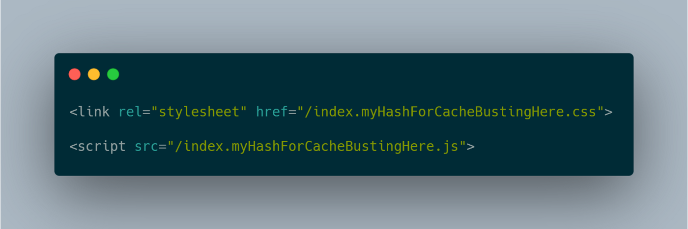 An example of file names when using hashes for cache busting