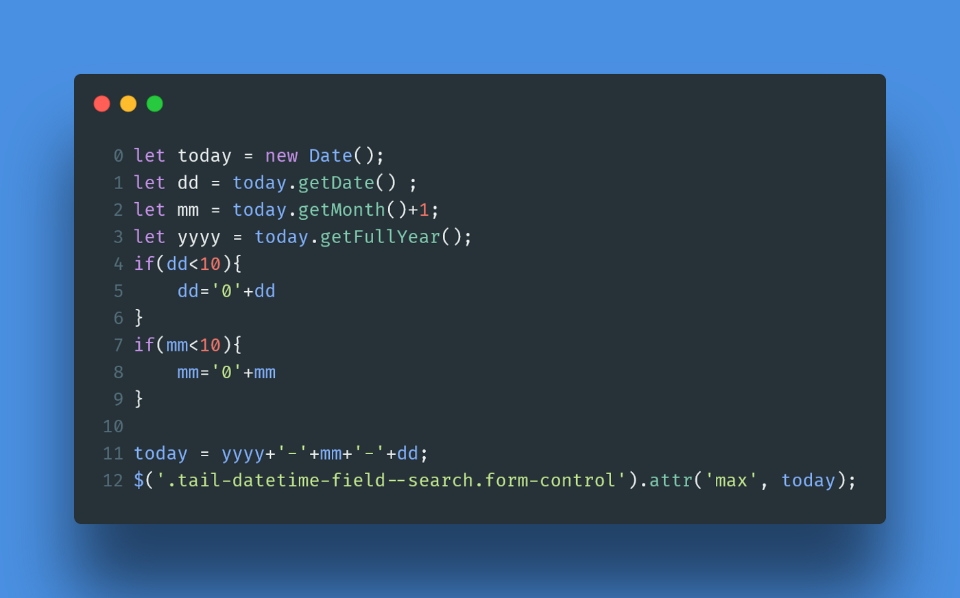 Set Tomorrow Date as a max attribute in HTML