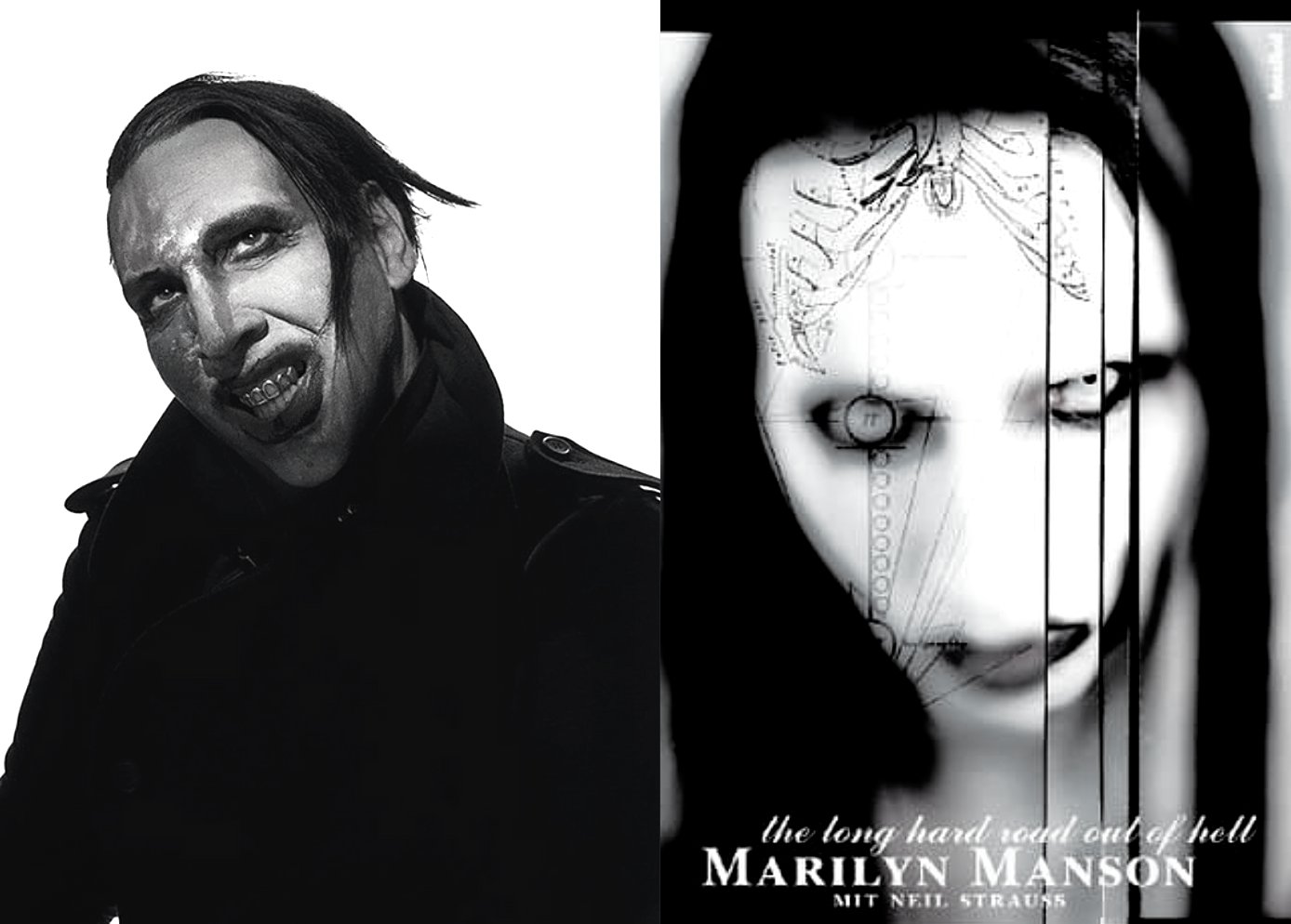 Marilyn Manson beside his autobiography The Long Hard Road Out of Hell.