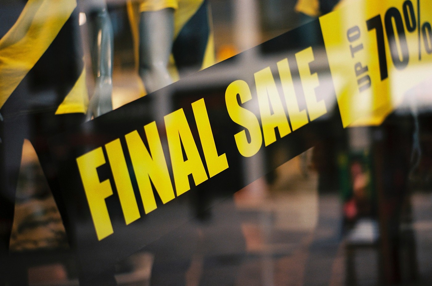 Sale signs on shop fronts