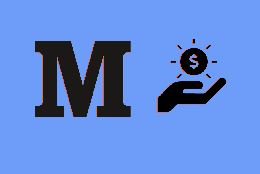 Medium logo and an icon of a hand holding a dollar sign on a dark blue background.