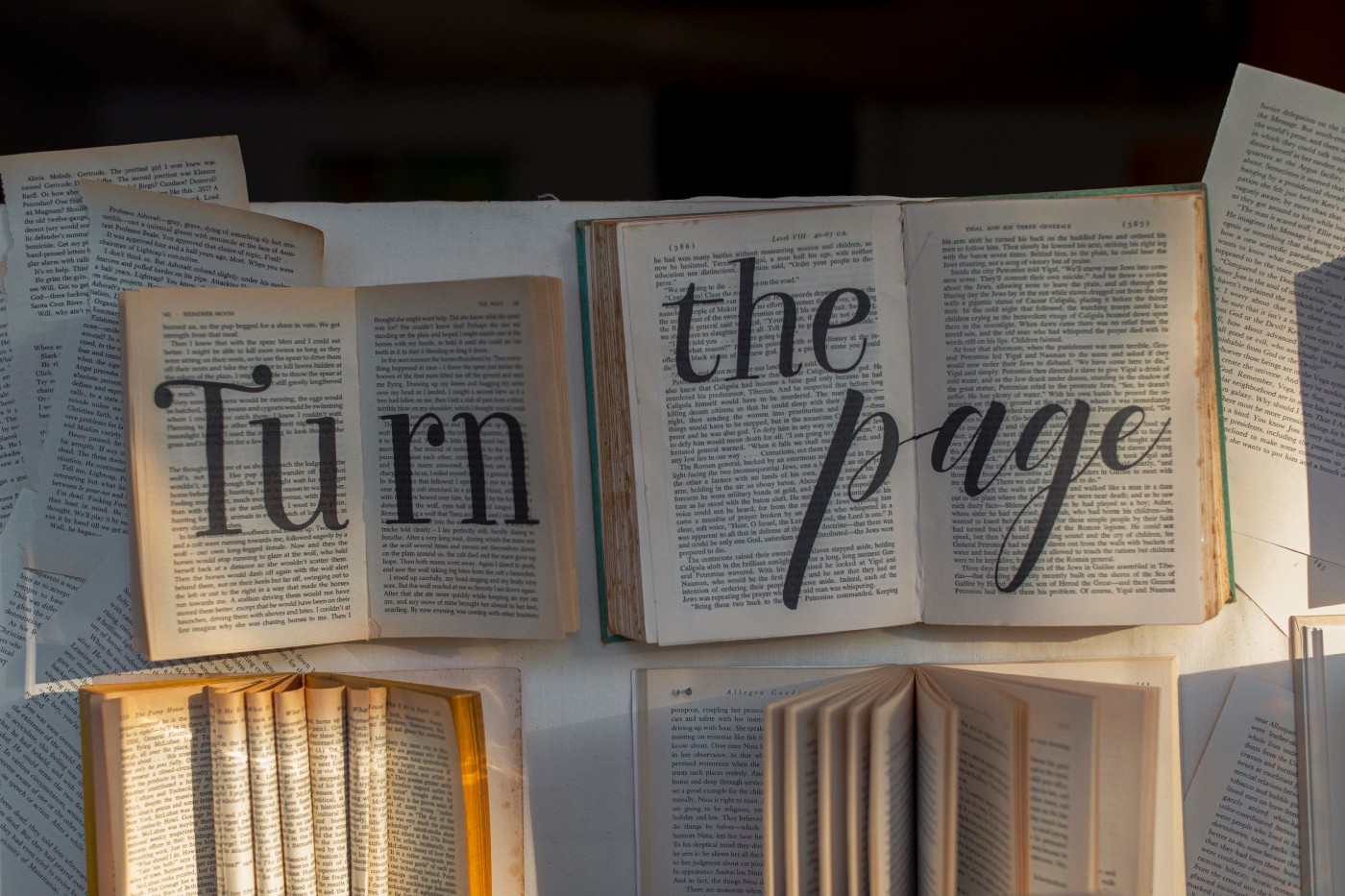 This picture depicts books and loose pages. Written across two of the open books is the phrase 'turn the page'.