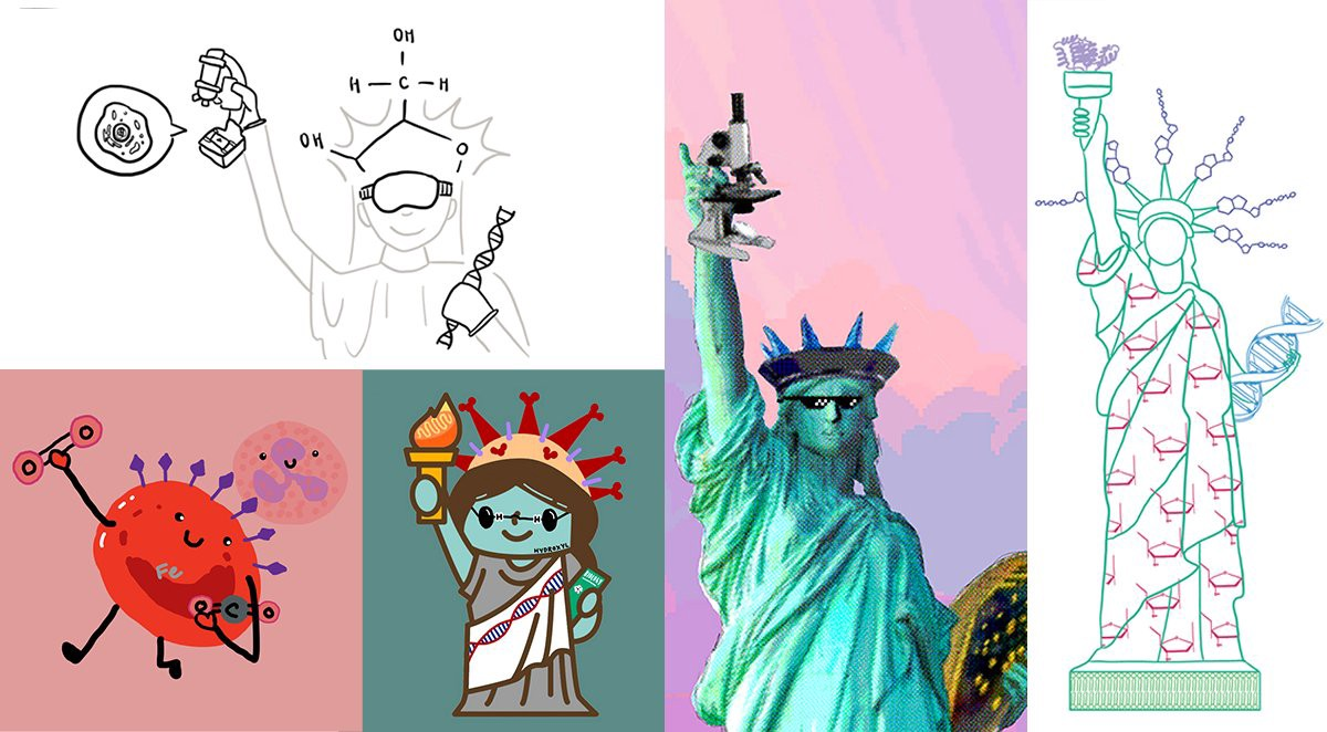 Whimsical illustrations of Lady Liberty depicting various biological concepts
