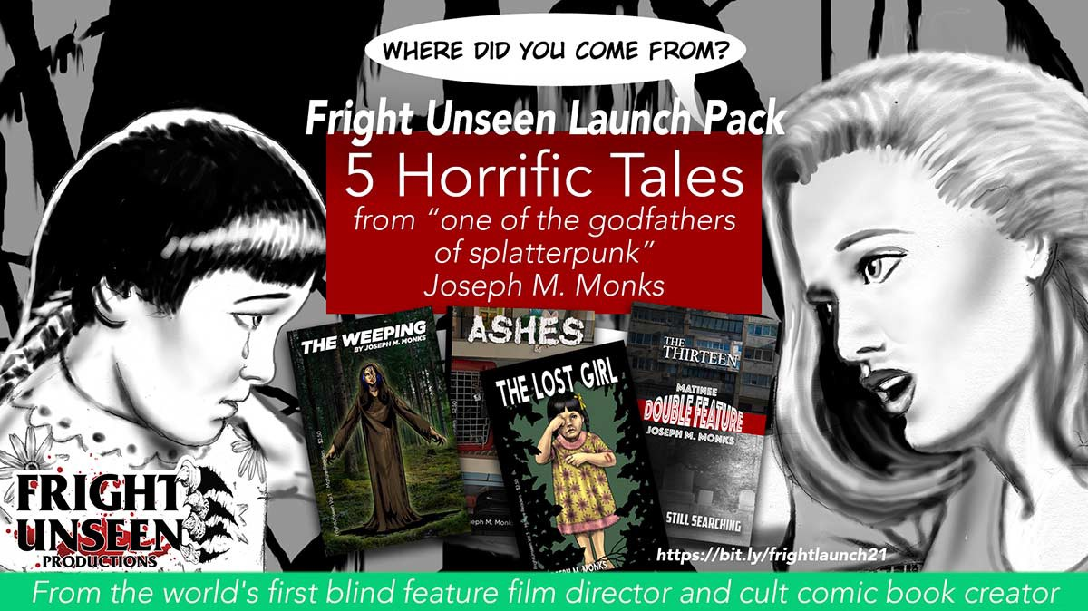 Comic panel and covers to horror tales included in the Fright Unseen Launch Pack