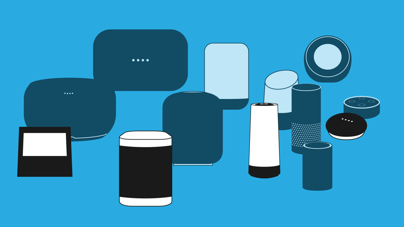 Image depics various smart speakers devices with out the manufacturer logo