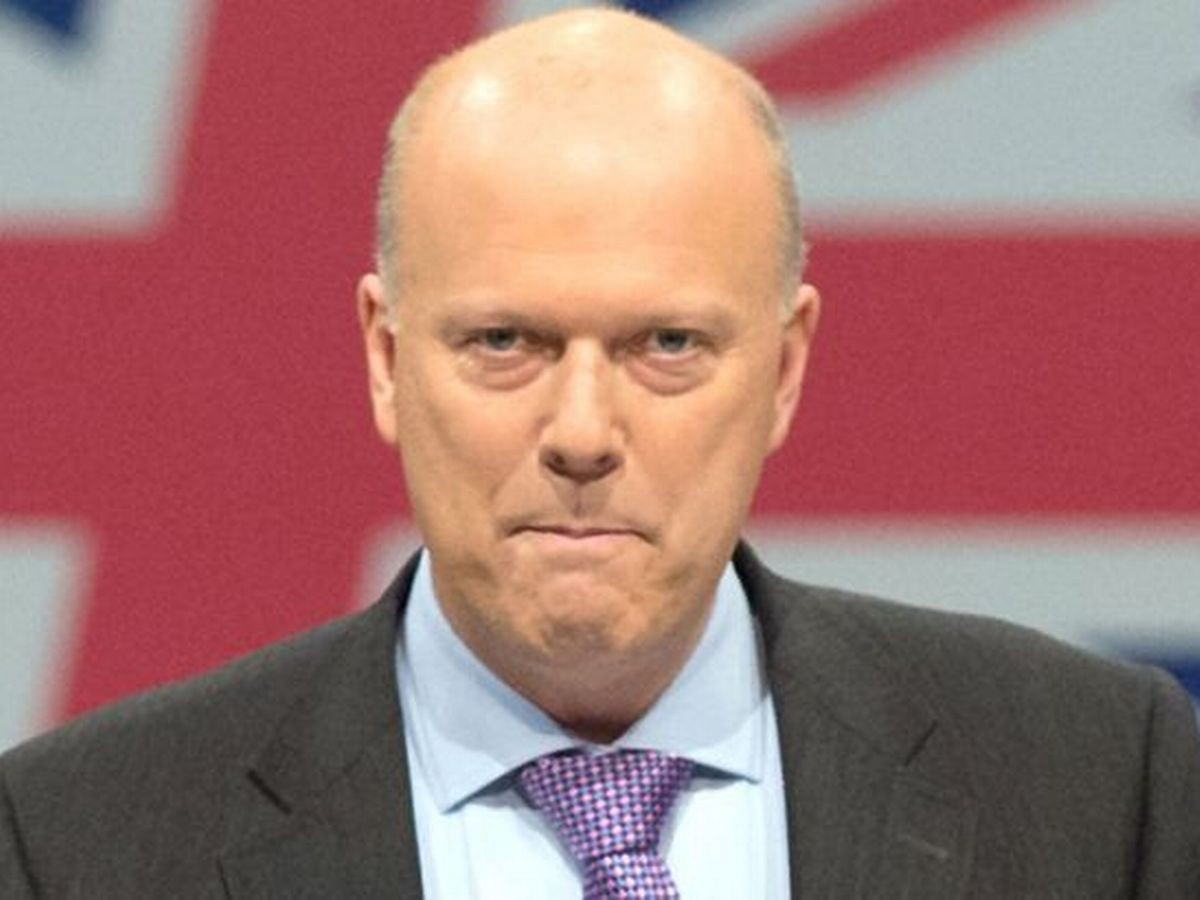 Chris Grayling in front of a Union Jack