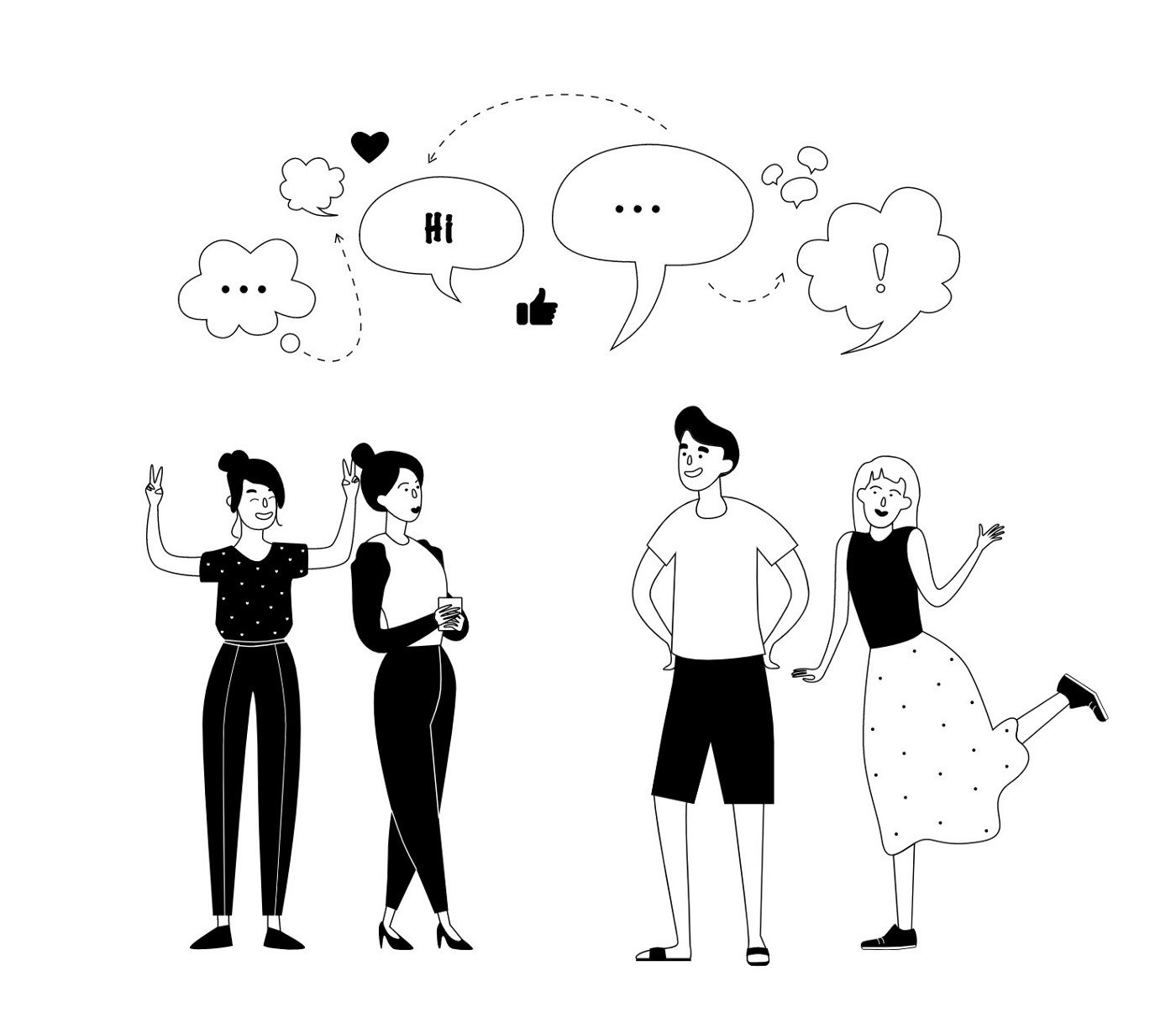 Four individuals happily discussing a topic and/or possibly meeting each other for the first time.