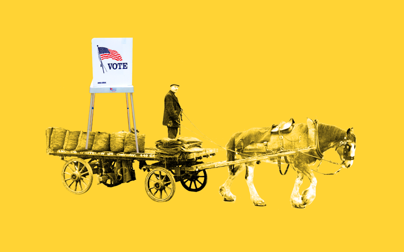 A photo collage of a man driving a horse-pulled cart, with a voting booth on the cart.