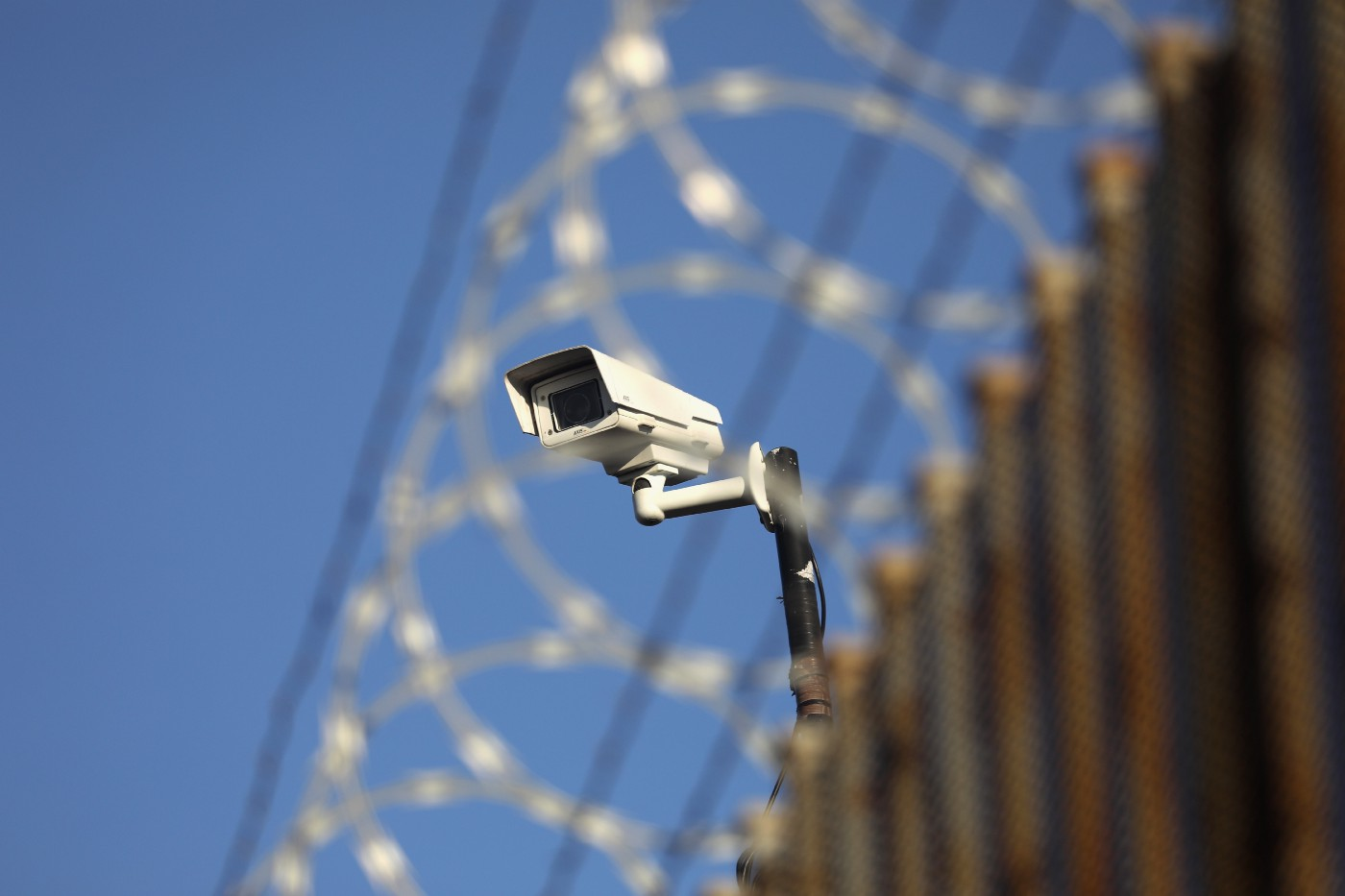 A U.S. surveillance camera overlooks the international bridge between Mexico and the United States.