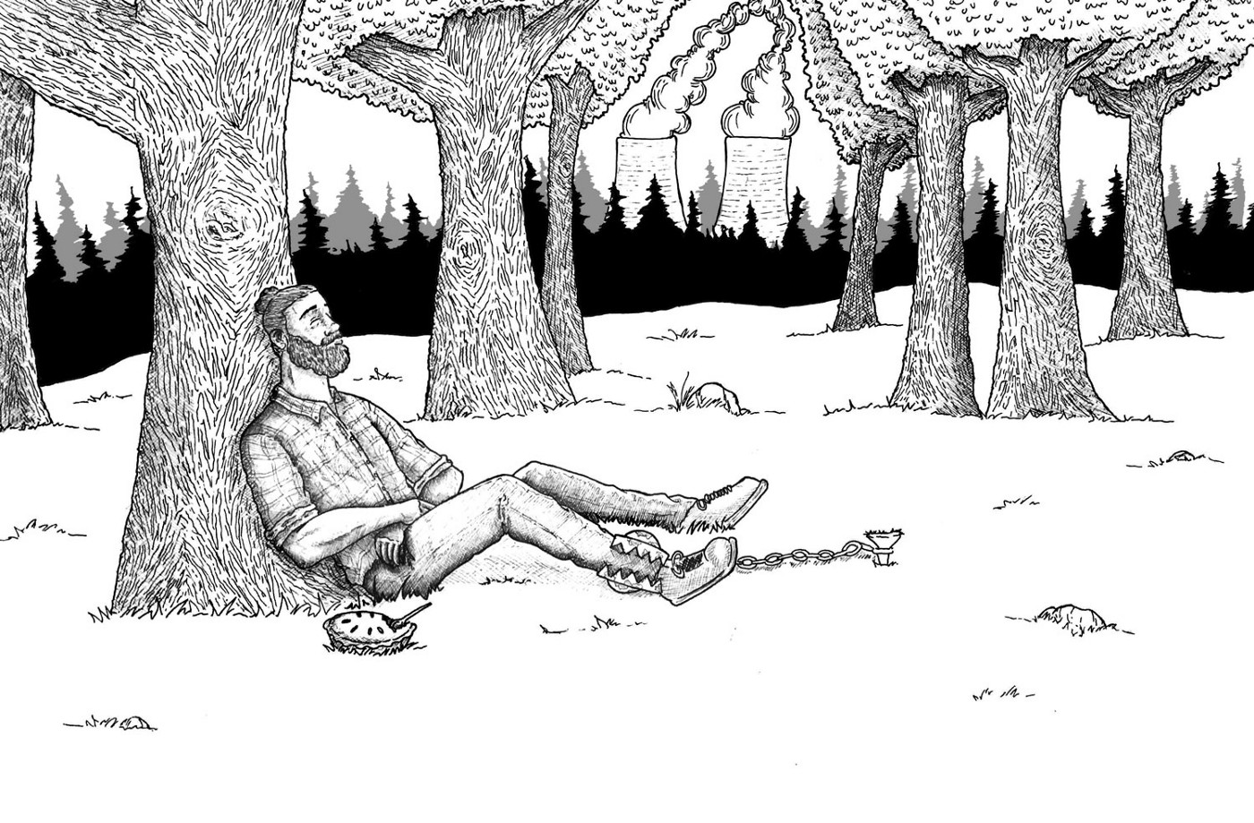 A pen-and-ink black and white drawing of a man in a forest leaning against a tree trunk.