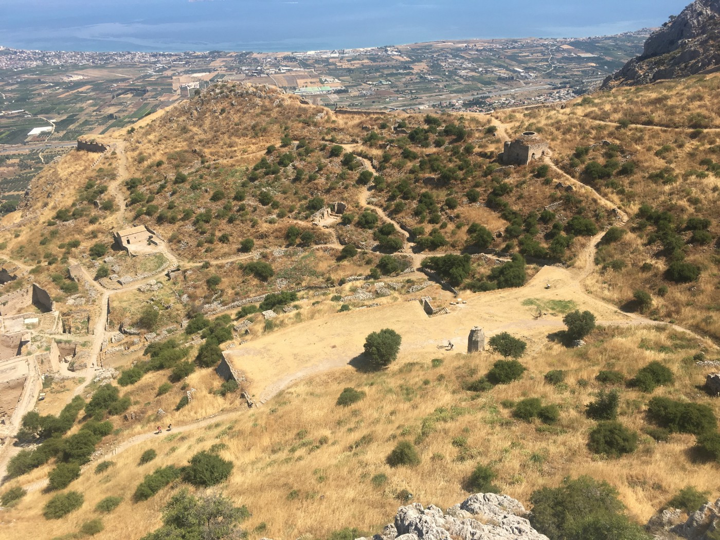 A view of Ancient Corinth and the Gulf of Corinth from atop the mountain Acrocorinth