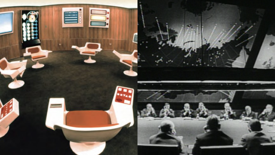 The control room of the Chilean Project CyberSyn and the war room from Stanley Kubrick's Dr. Strangelove