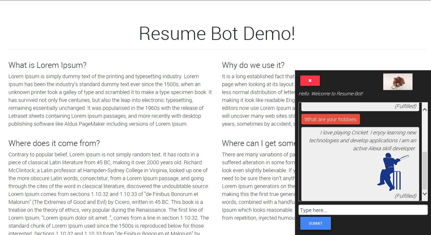 ResumeBot — Develop Serverless Chatbot in minutes for your Resume!