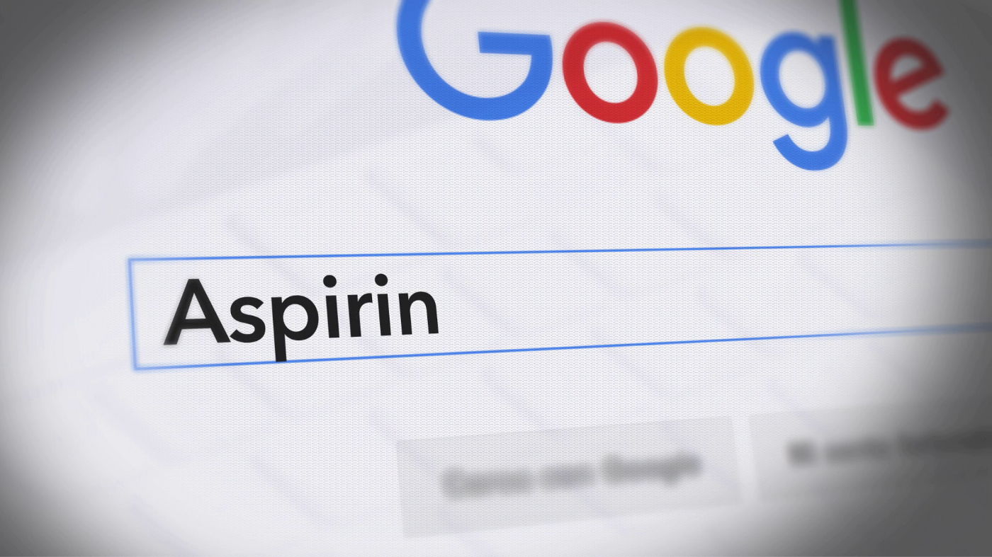 """Google Search Page with the word """"Aspirin"""" in its search field"""