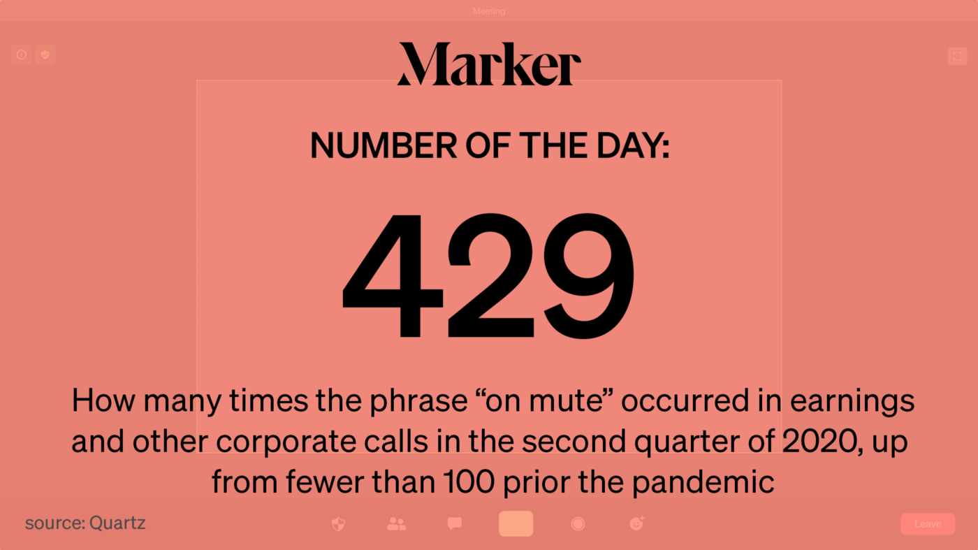 """429—How many times the phrase """"on mute"""" occurred in earnings and other corporate calls in the second quarter of 2020"""