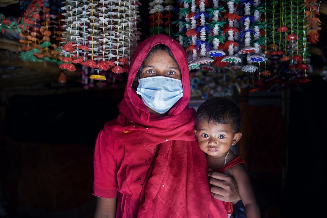 Photo: Nur wears a mask to protect against COVID-19 in Rohingya Refugee Camp. Credit: Fabeha Monir/Oxfam