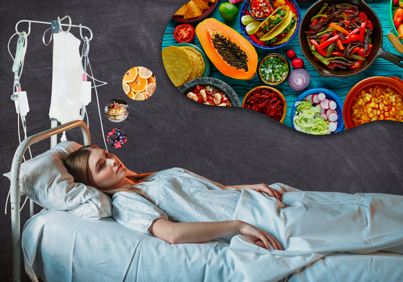 A young woman lies in a hospital bed with an IV pole behind her. She is dreaming of all kinds of food, demonstrated by a thought bubble filled with foods like tacos, pancakes, fruits, meat dishes and vegetables.