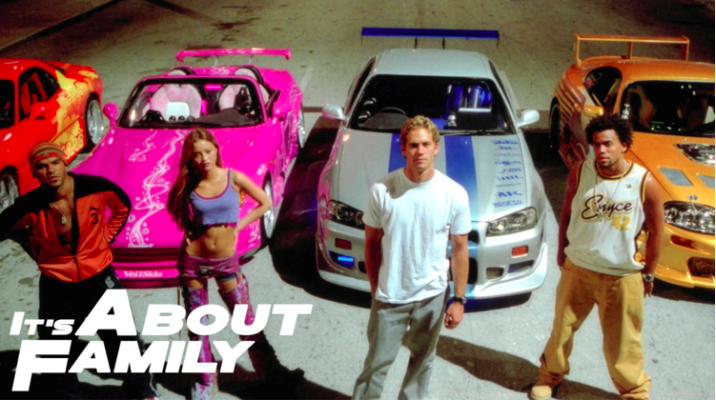 "Four characters and their cars from ""2 Fast 2 Furious"""
