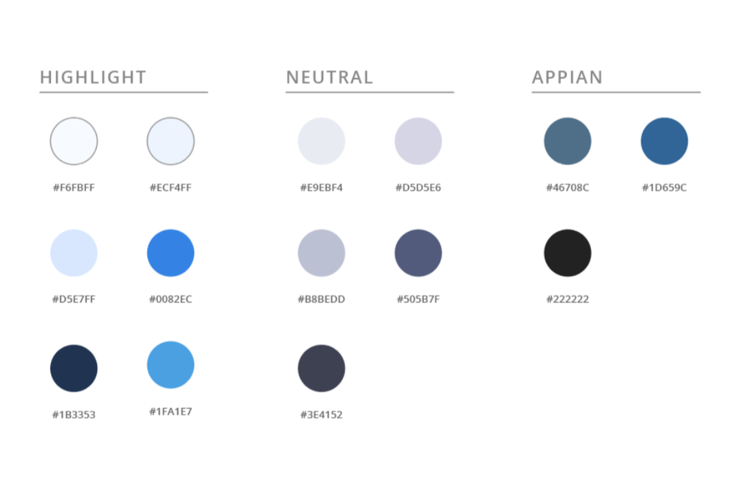 Color palette featuring highlight colors, neutral tones, and Appian-specific hex codes