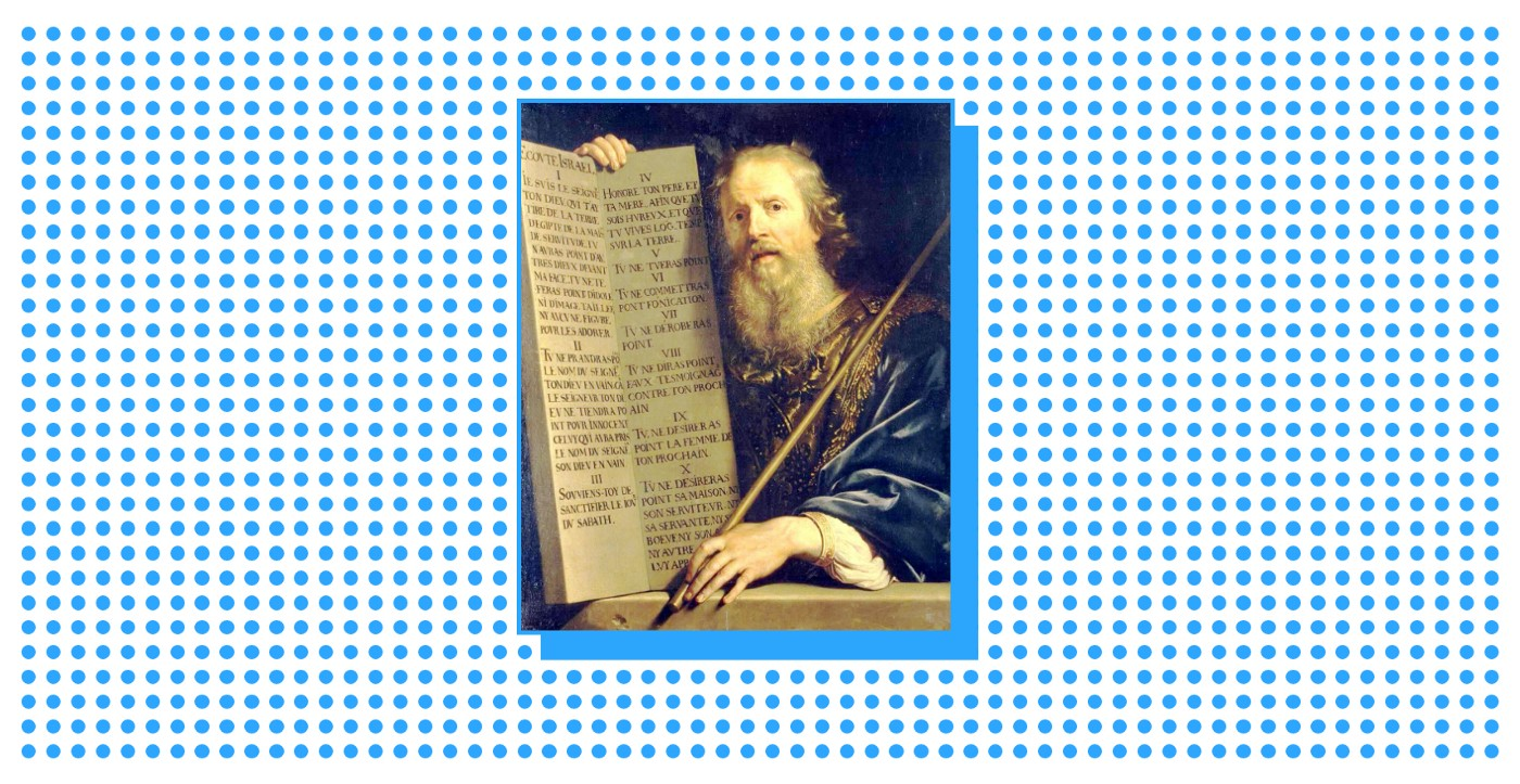 Moses holding a scripture with the Ten Commandments