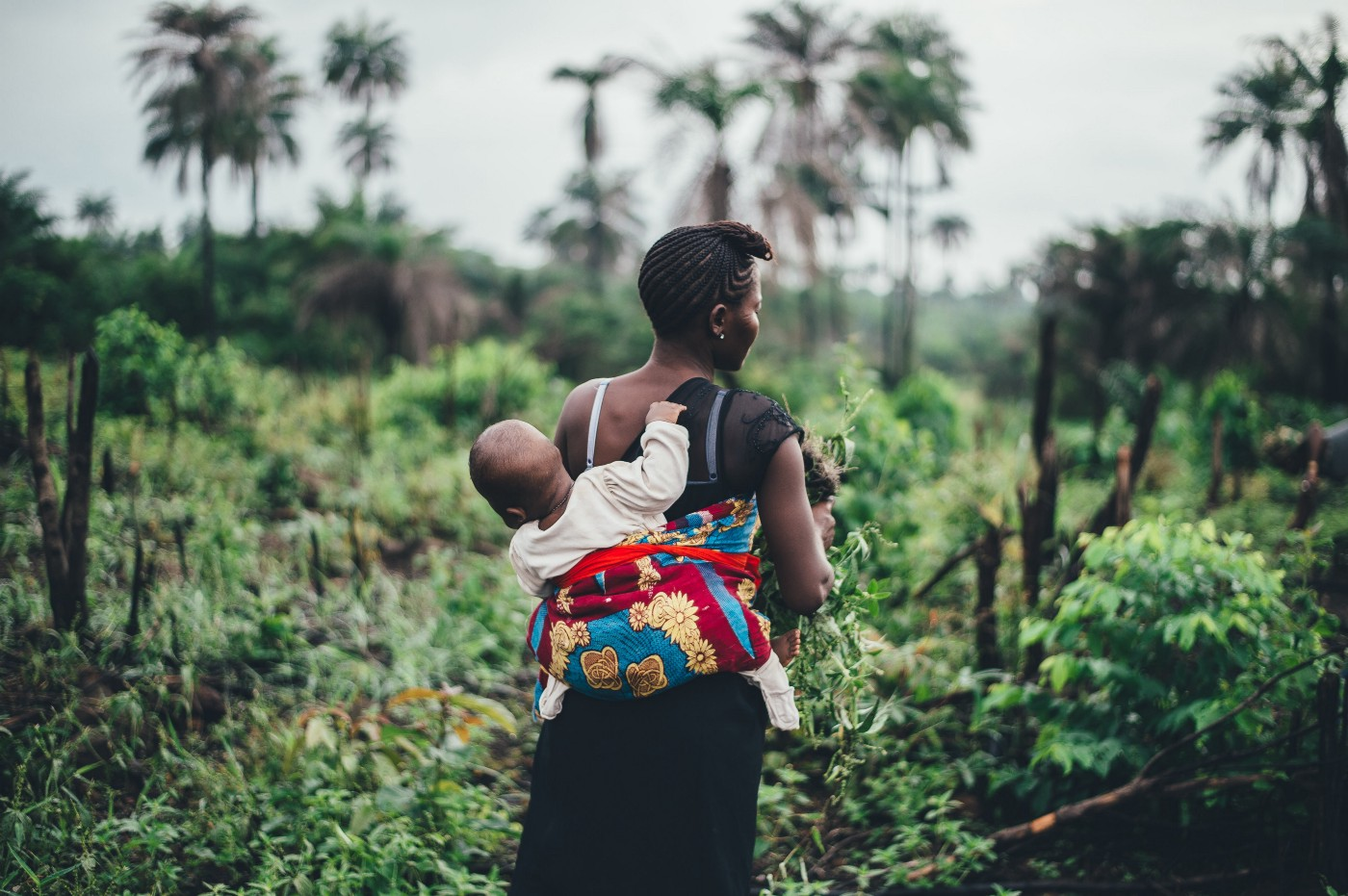 Black mother carrying a child on her back in the middle of a field