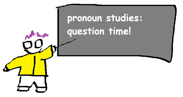 "figure with a yellow jacket, purple hair, and glasses pointing at a blackboard that says ""pronoun studies: question time!"""