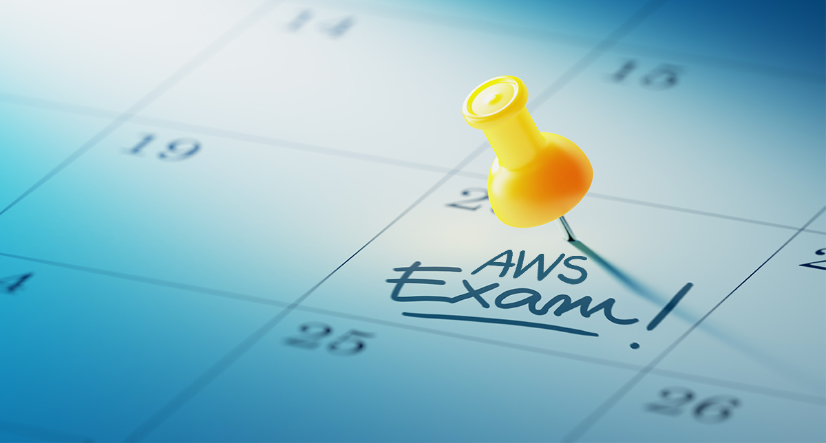 "A calendar with the ""AWS Exam!"" marked on the 20th of the month."