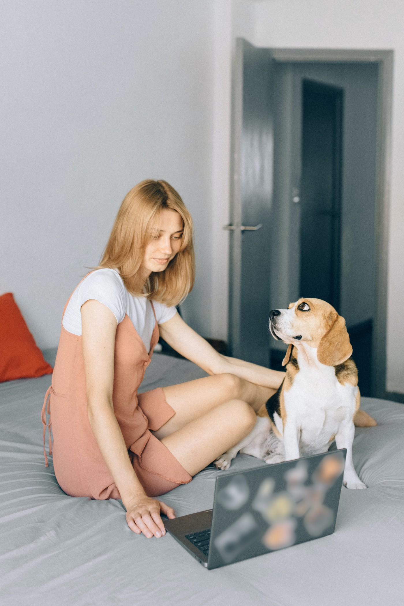 A girl and her pet.