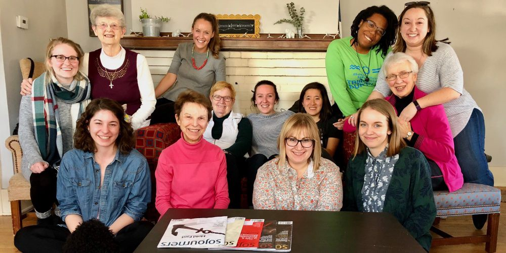 Group of young adult women members of Nuns & Nones meet with Dominican Catholic Sisters in Grand Rapids, MI.