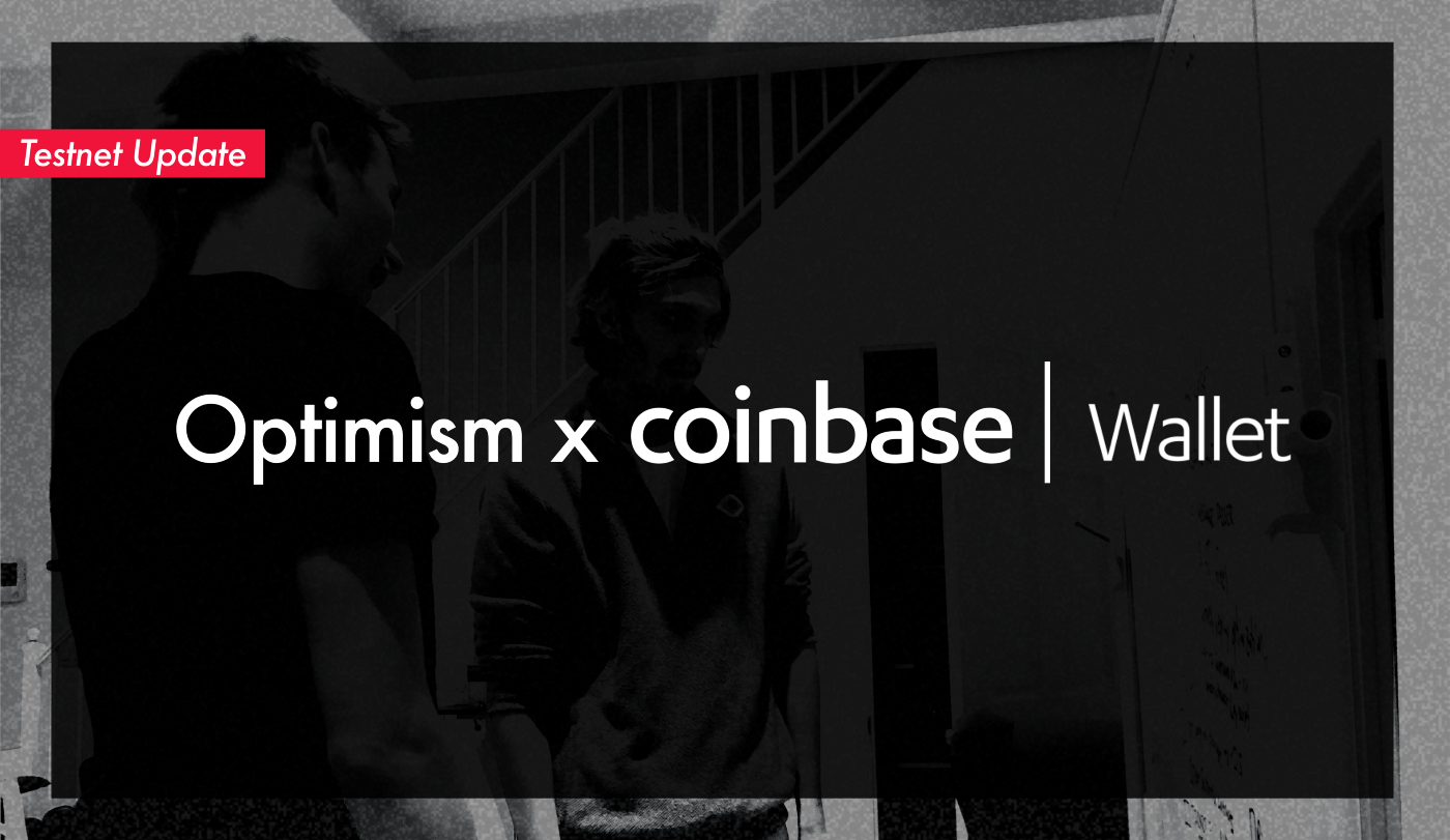 Black & white image of two Optimism devs looking at a whiteboard. Text overlaid on image reads Optimism x Coinbase Wallet.