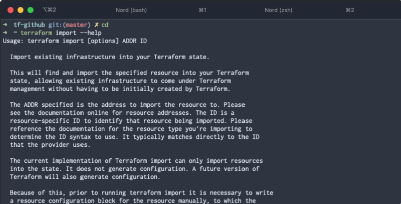 Terraform import subcommand
