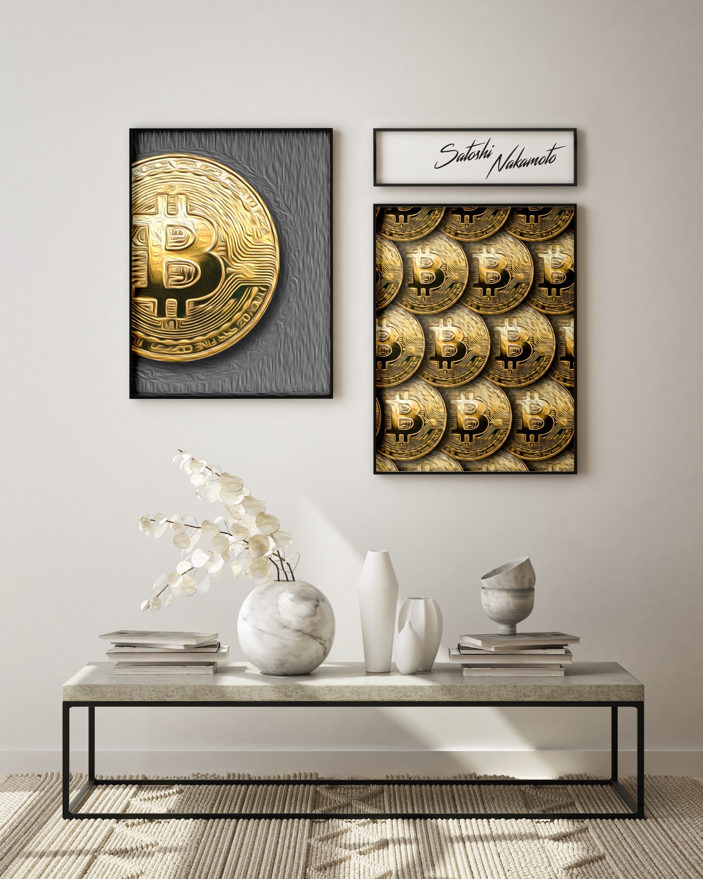 Bitcoin pictures on wall.