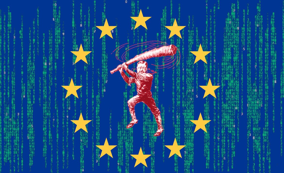 """The EU flag superimposed over a Matrix """"code waterfall"""" effect; in the center of the ring of stars is a vintage newspaper caricature of Roosevelt as a trustbuster, swinging his """"big stick."""""""