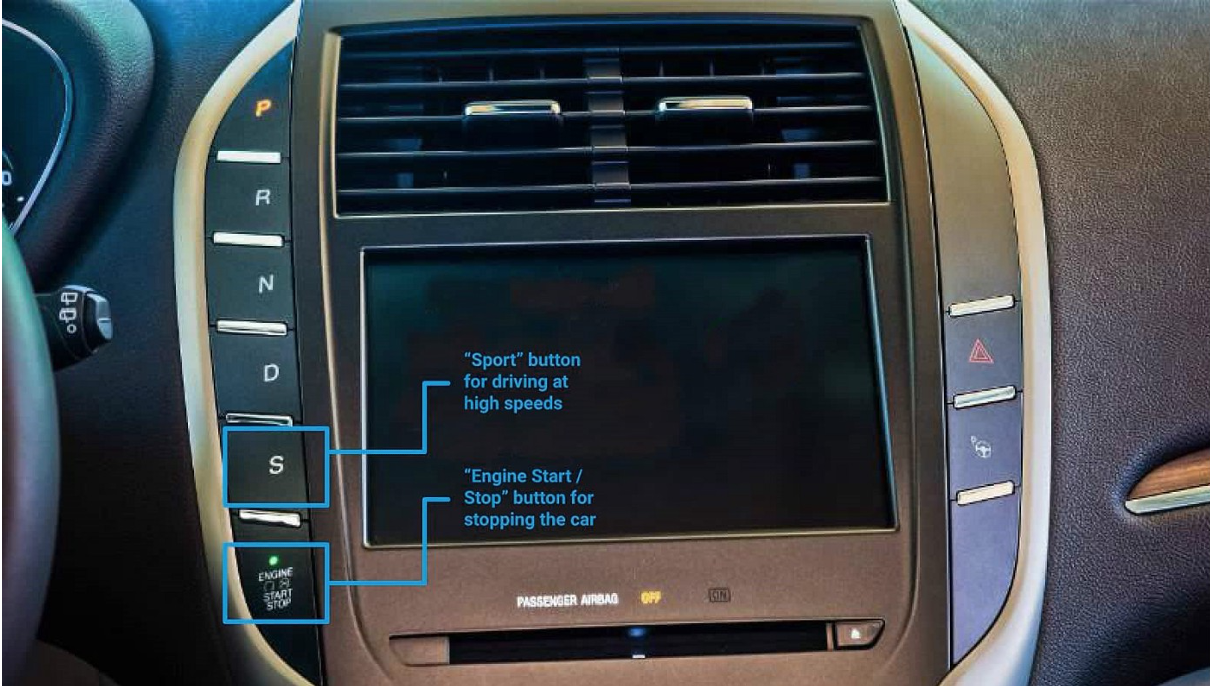 car dashboard with row of similar size and shape of buttons