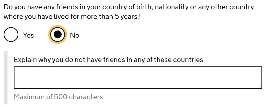 Screencap of indefinite leave to remain application form question asking why you have no friends in your birth country.