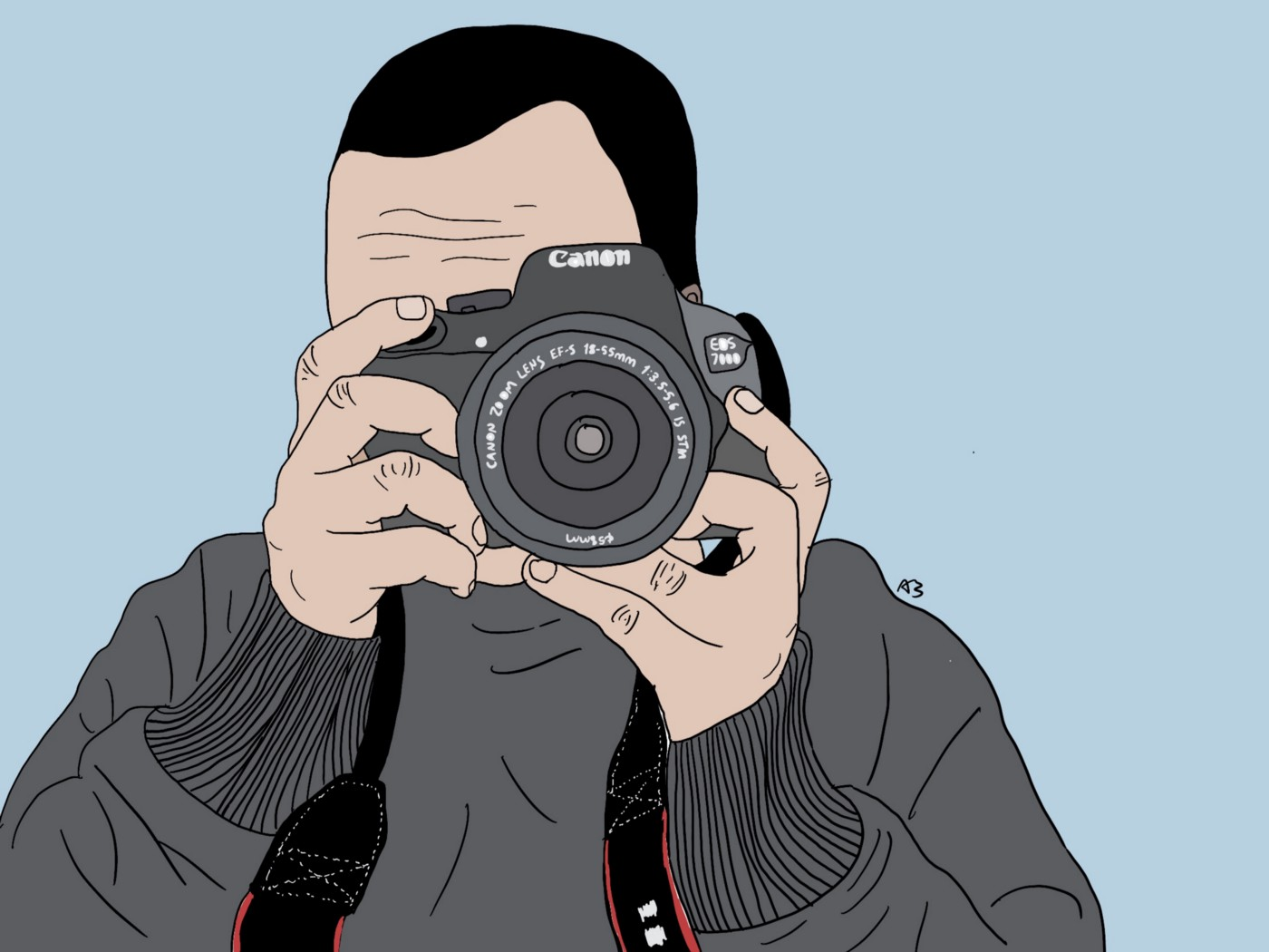 Illustration of author holding a camera towards the viewer