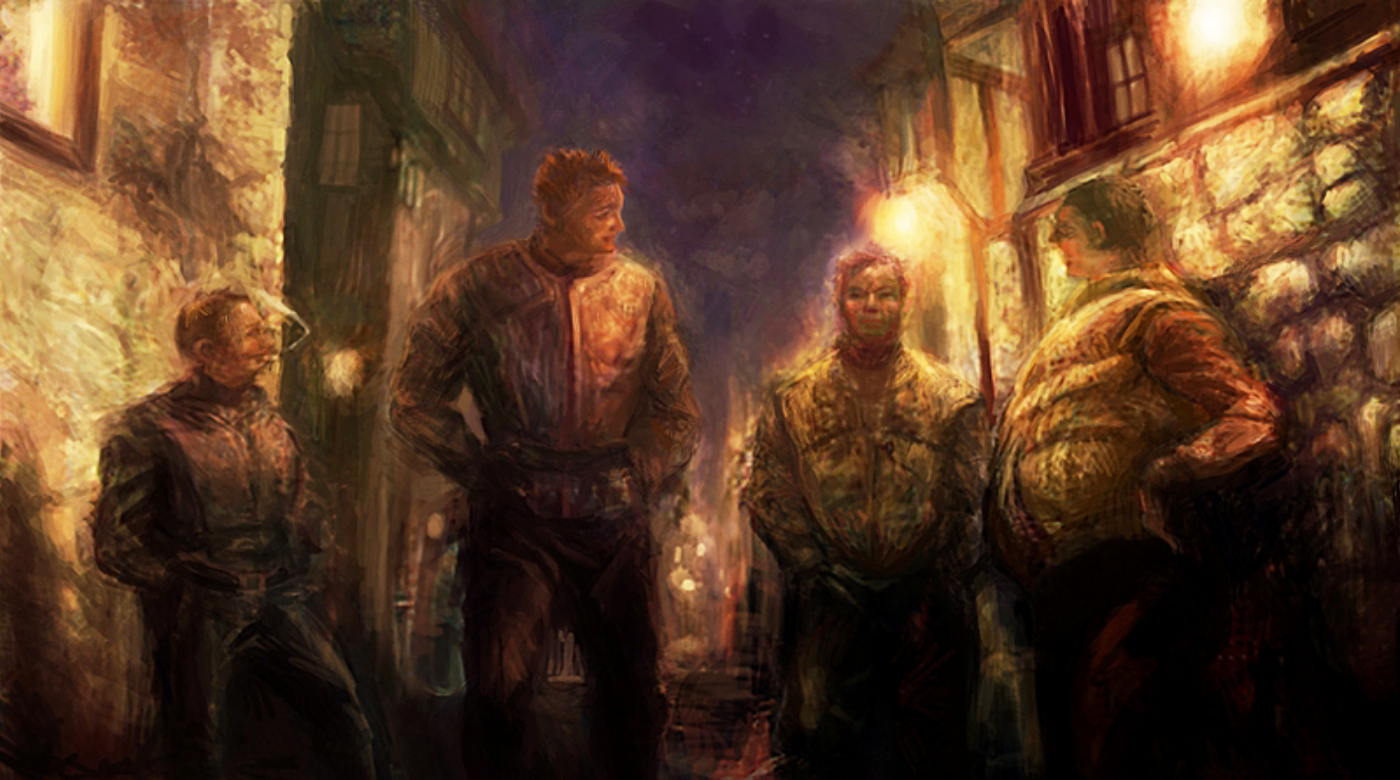 """""""Guards"""" by Kairosis on DeviantArt depicting Nobby, Carrot, Vimes, and Colon from Discworld."""