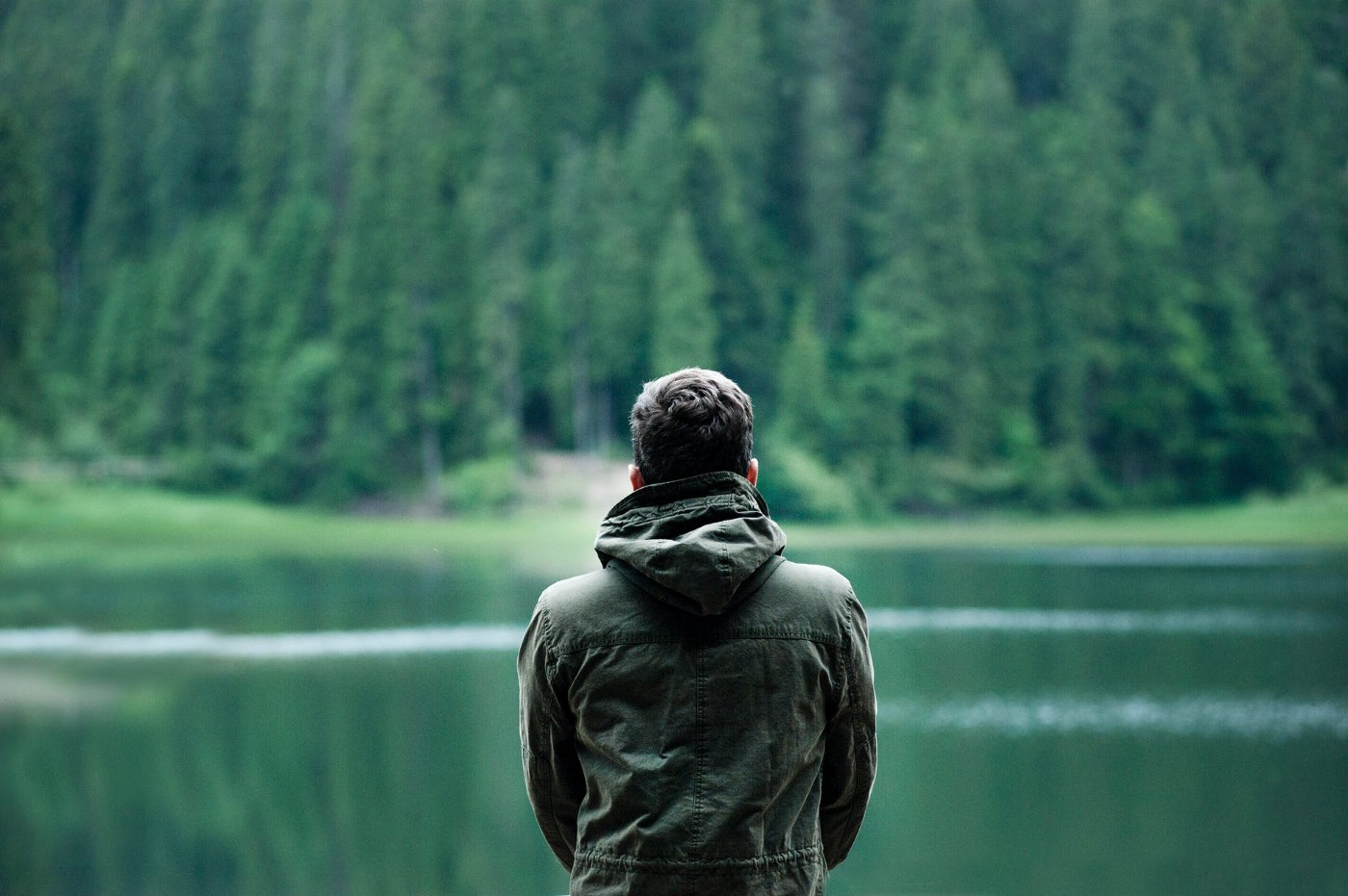 A young man looks towards a lake surrounded by woods.