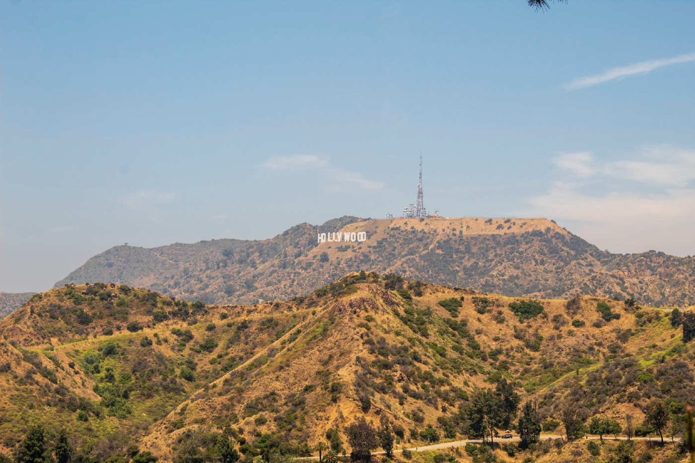 A view of the famous Hollywood sign from a distance.