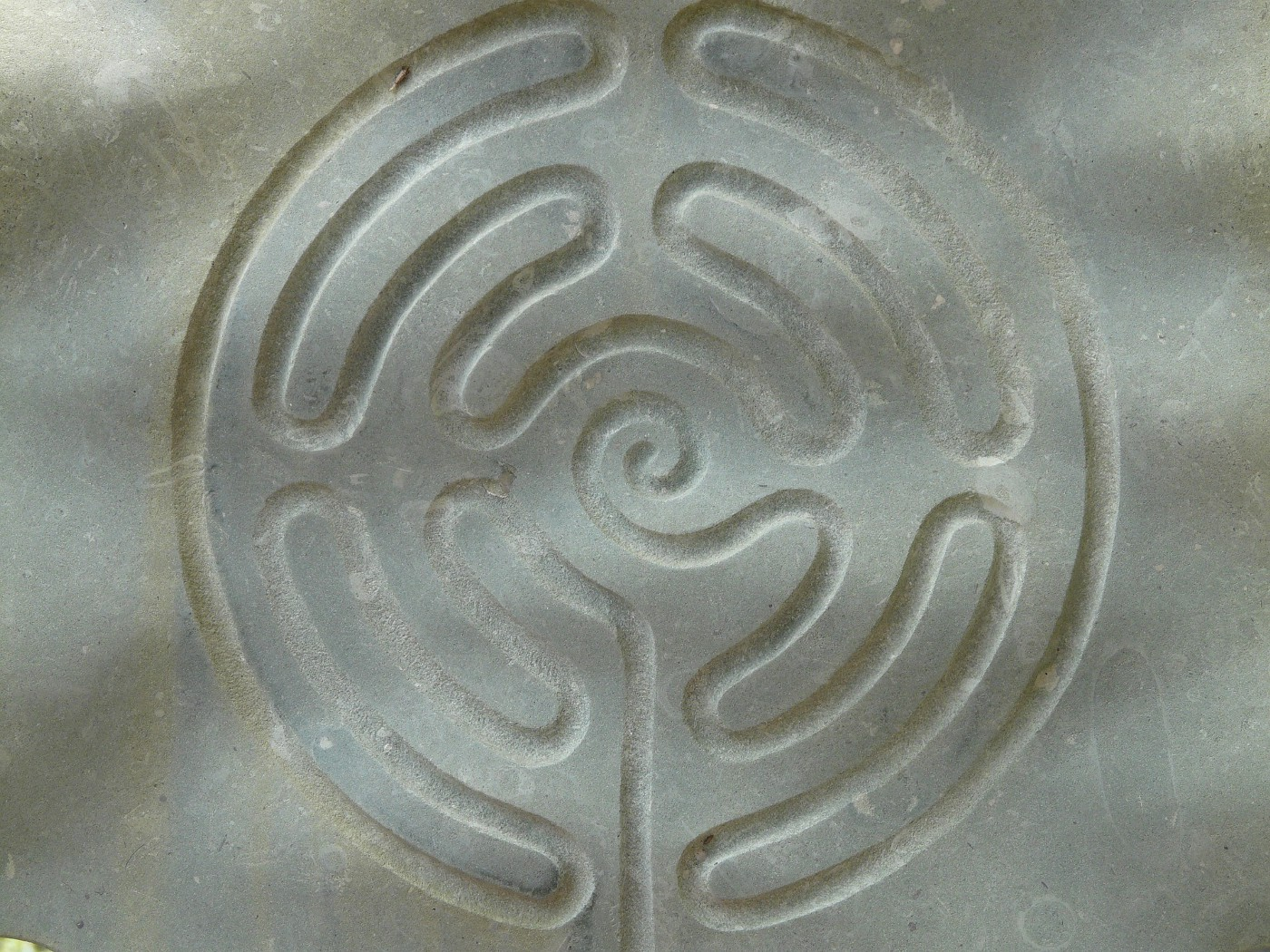 A labyrinth carved into stone