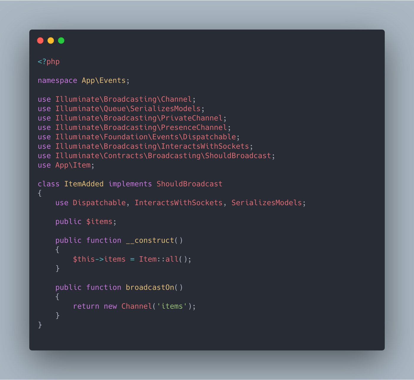 Code screenshot of an example Event in a Laravel app