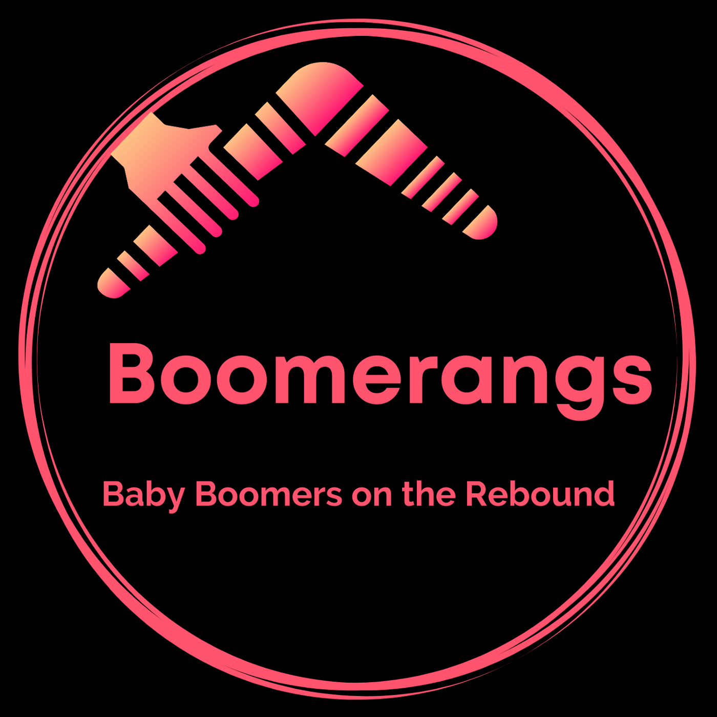 Logo for new publication — black background with watermelon pink lettering — Boomerangs — Baby Boomers on the rebound.