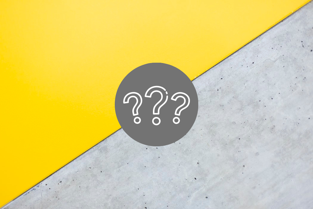 Three white question marks within a gray circle rest over a background that diagonally splits a yellow and gray color.