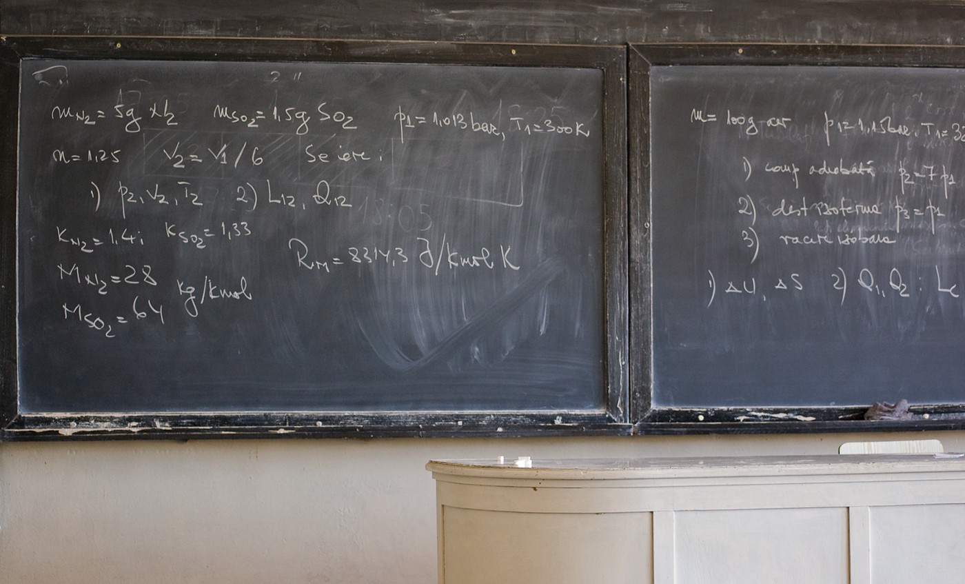 Blackboard with extensive mathematics equations in front of an old desk
