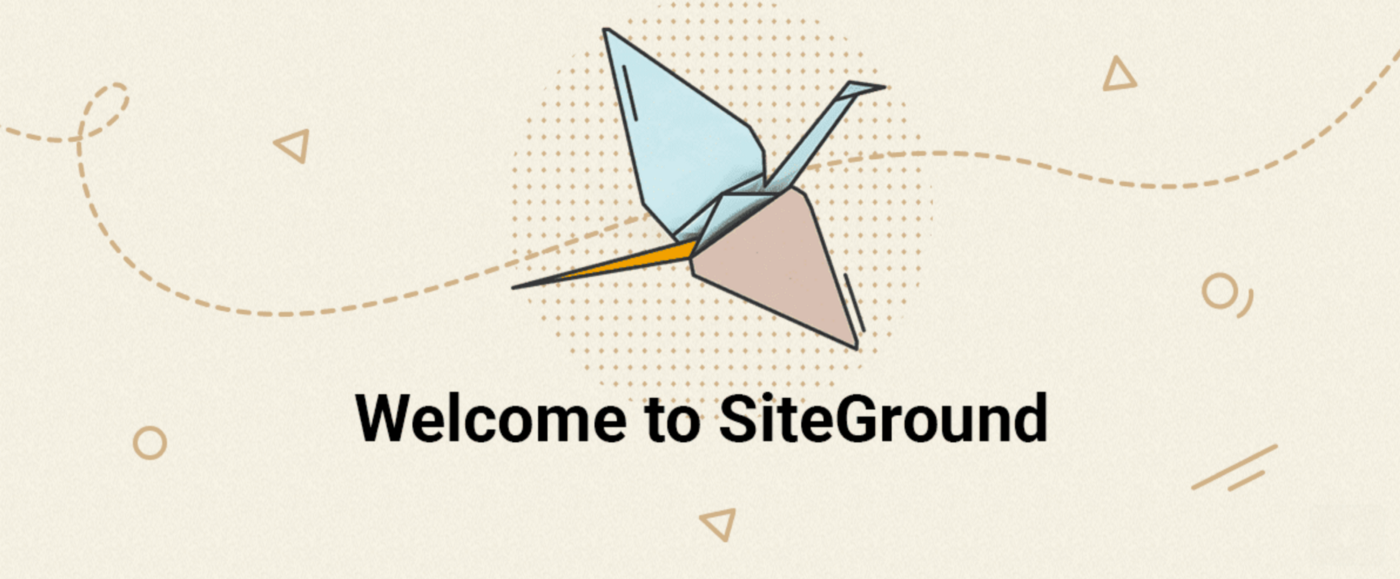 "drawing of bird flying left to right ""Welcome to Siteground"""