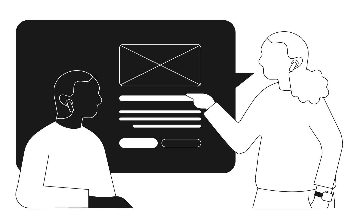 Abstract Illustration of two people discussing a wireframe via video call.