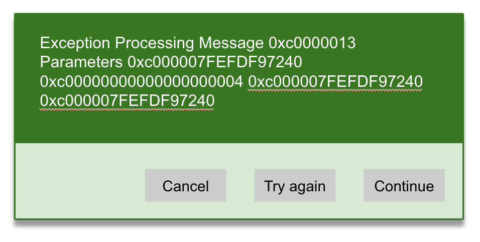 An error message displaying technical jargon and incomprehensible lines of numbers.